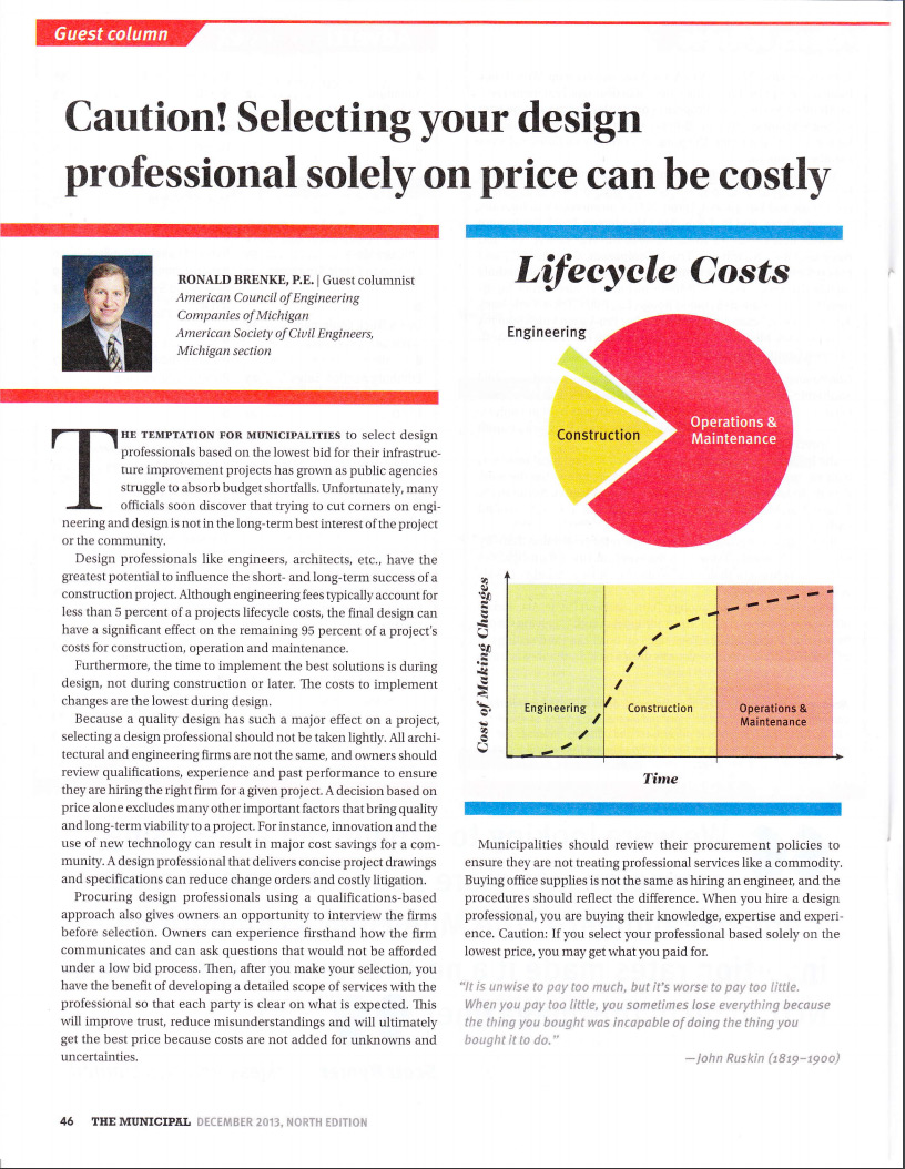 Caution! Selecting your Design Professional solely on price can be costly The Municipal