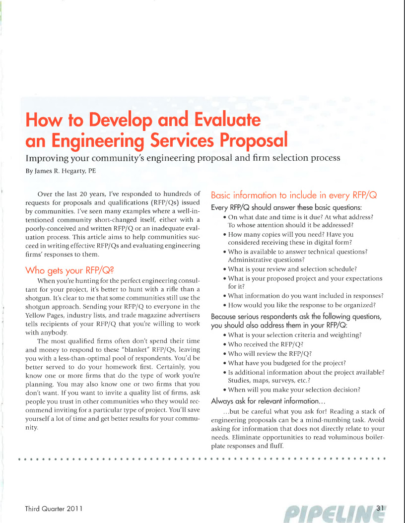 How to Develop and Evaluate an Engineering Service Proposal