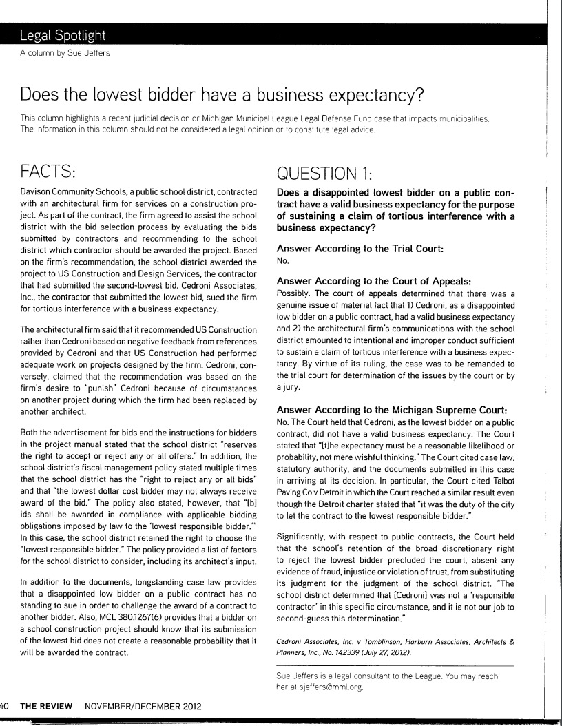 Does the Lowest Bidder have a Business Expectancy?